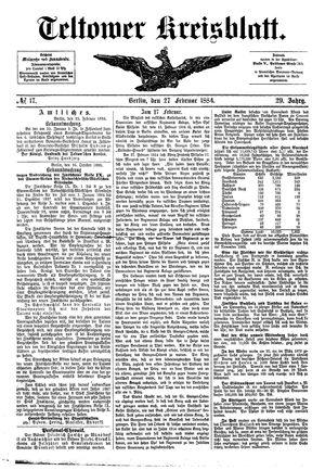 Teltower Kreisblatt vom 27.02.1884