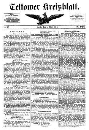 Teltower Kreisblatt vom 01.03.1884