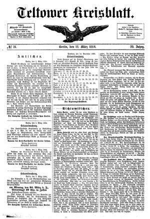 Teltower Kreisblatt vom 12.03.1884
