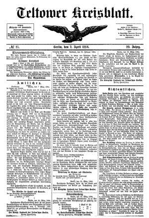 Teltower Kreisblatt vom 02.04.1884