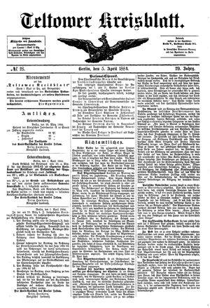 Teltower Kreisblatt on Apr 5, 1884