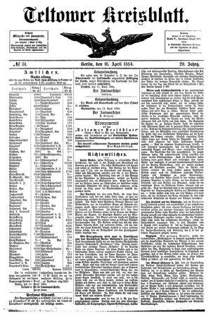 Teltower Kreisblatt on Apr 16, 1884