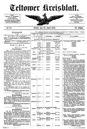 Teltower Kreisblatt vom 19.04.1884