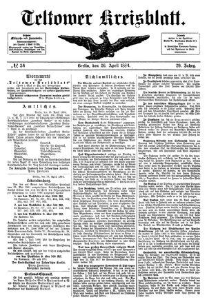 Teltower Kreisblatt vom 26.04.1884