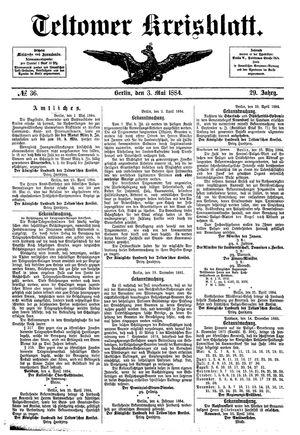 Teltower Kreisblatt vom 03.05.1884