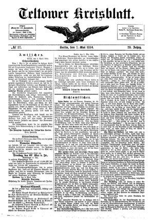 Teltower Kreisblatt vom 07.05.1884