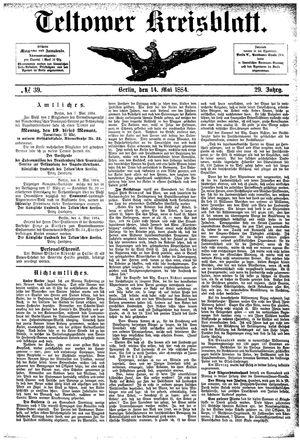 Teltower Kreisblatt vom 14.05.1884