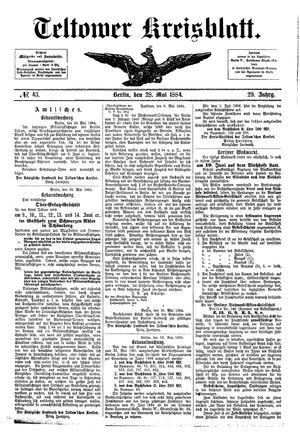 Teltower Kreisblatt vom 28.05.1884