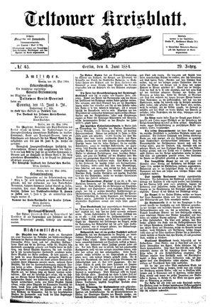 Teltower Kreisblatt vom 04.06.1884