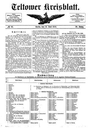 Teltower Kreisblatt vom 14.06.1884
