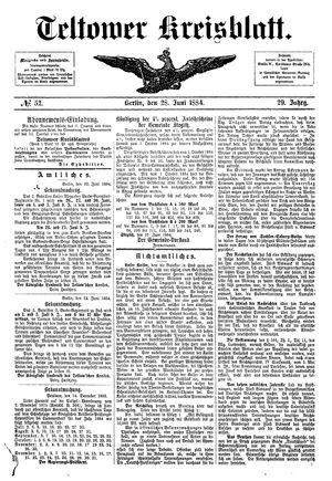 Teltower Kreisblatt vom 28.06.1884