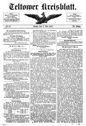 Teltower Kreisblatt on Jul 2, 1884