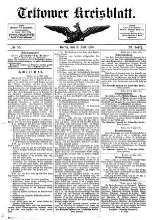 Teltower Kreisblatt vom 09.07.1884