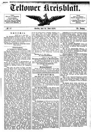 Teltower Kreisblatt vom 16.07.1884