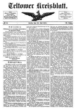 Teltower Kreisblatt vom 30.07.1884