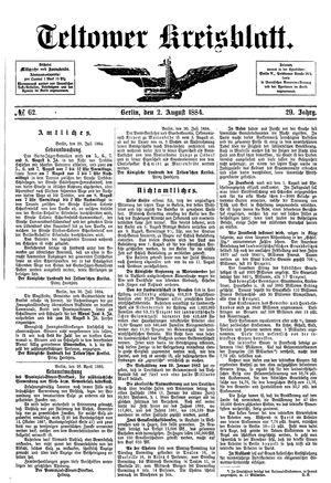 Teltower Kreisblatt vom 02.08.1884