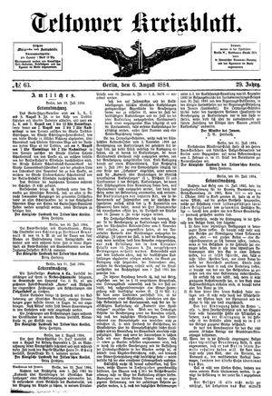 Teltower Kreisblatt vom 06.08.1884