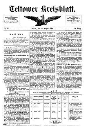 Teltower Kreisblatt vom 13.08.1884