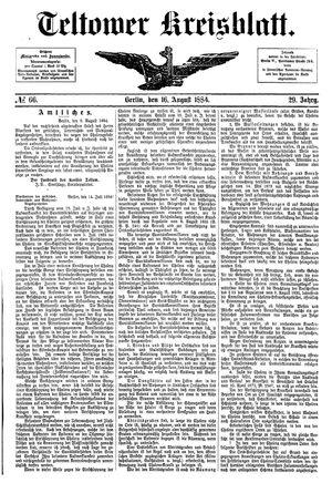 Teltower Kreisblatt vom 16.08.1884