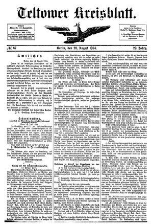 Teltower Kreisblatt vom 20.08.1884