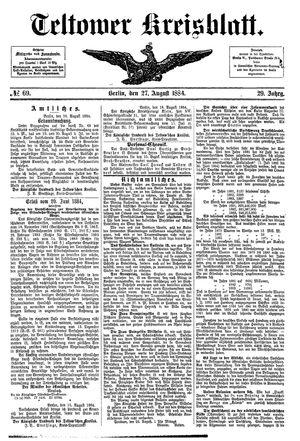 Teltower Kreisblatt vom 27.08.1884