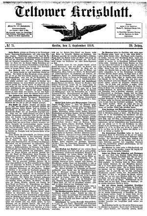 Teltower Kreisblatt vom 03.09.1884