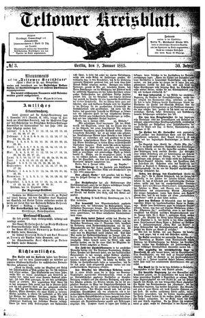 Teltower Kreisblatt vom 08.01.1885