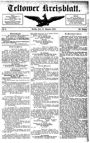 Teltower Kreisblatt vom 15.01.1885