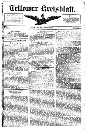 Teltower Kreisblatt vom 22.01.1885
