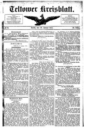 Teltower Kreisblatt vom 24.01.1885