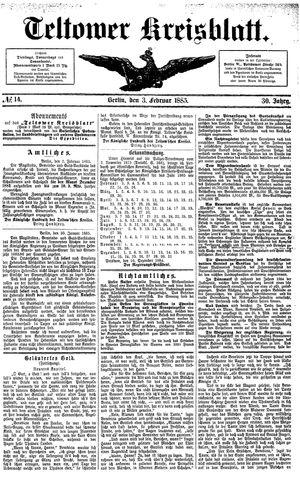 Teltower Kreisblatt vom 03.02.1885