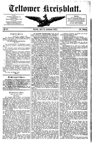Teltower Kreisblatt vom 12.02.1885