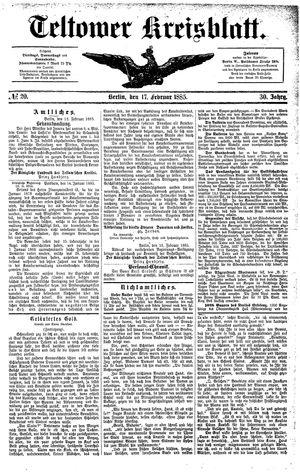 Teltower Kreisblatt vom 17.02.1885