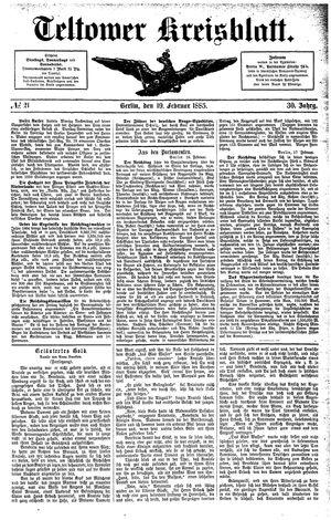 Teltower Kreisblatt vom 19.02.1885