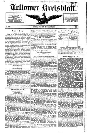Teltower Kreisblatt vom 21.02.1885