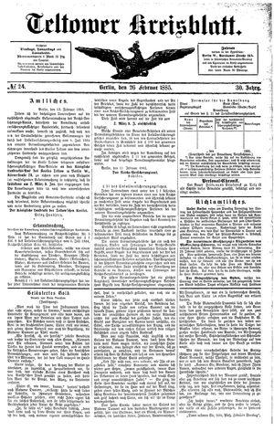 Teltower Kreisblatt vom 26.02.1885