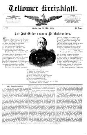 Teltower Kreisblatt vom 31.03.1885