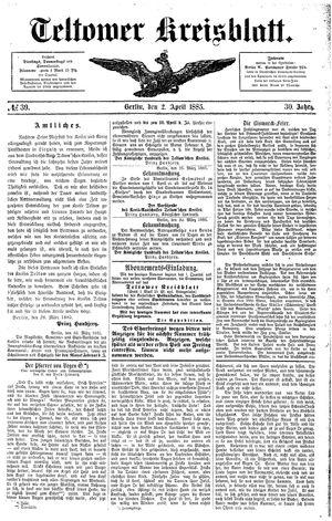 Teltower Kreisblatt vom 02.04.1885