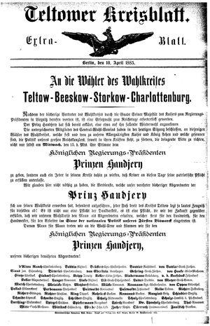 Teltower Kreisblatt vom 10.04.1885
