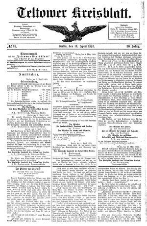 Teltower Kreisblatt on Apr 14, 1885