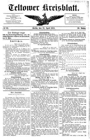 Teltower Kreisblatt vom 28.04.1885