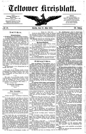 Teltower Kreisblatt vom 12.05.1885