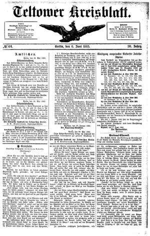 Teltower Kreisblatt vom 06.06.1885