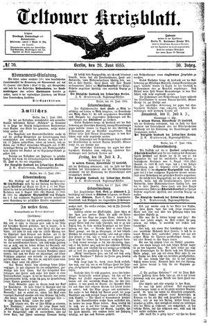 Teltower Kreisblatt vom 20.06.1885