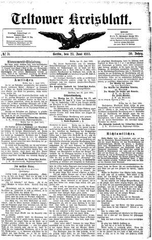 Teltower Kreisblatt vom 23.06.1885