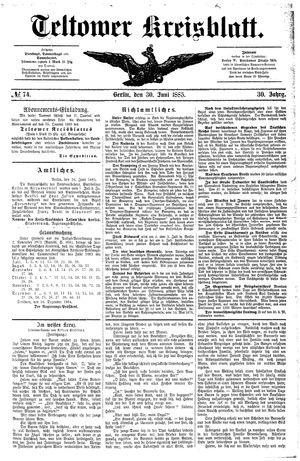 Teltower Kreisblatt vom 30.06.1885