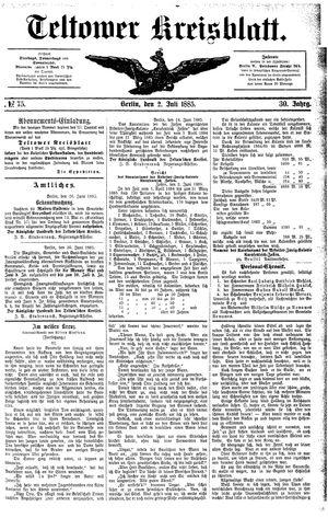 Teltower Kreisblatt vom 02.07.1885
