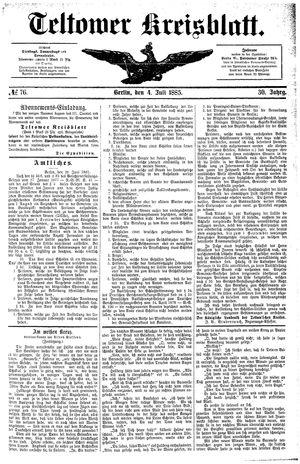 Teltower Kreisblatt vom 04.07.1885