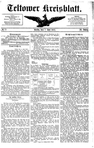 Teltower Kreisblatt vom 07.07.1885