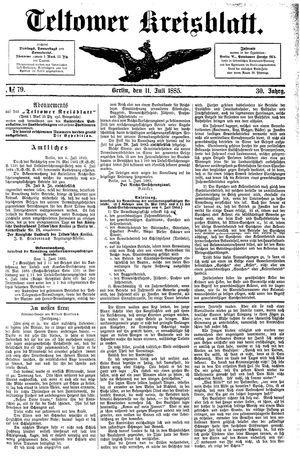 Teltower Kreisblatt vom 11.07.1885
